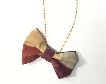 MeToo Necklace - NBowRd10 - Bow Tie Necklace Upholstery Fabric in red and gold. Unique.