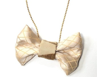 MeToo Necklace - NBowBrwn15 - Bow Tie Necklace Upholstery Fabric in beige. Unique.