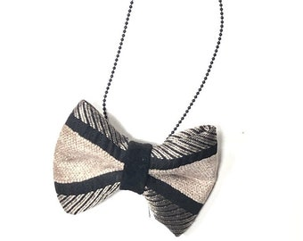 MeToo Necklace - NBowBlck4 - Bow Tie Necklace Upholstery Fabric in black and beige. Unique.