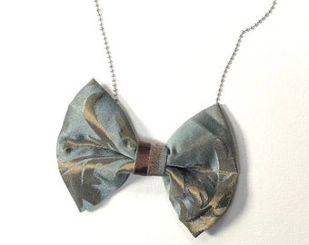 MeToo Necklace - NBowBl10 - Bow Tie Necklace Upholstery Fabric in blue and beige. Unique.