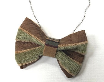 MeToo Necklace - NBowBrwn5 - Bow Tie Necklace Upholstery Fabric in brown and green. Unique.