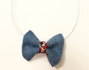 MeToo Necklace - NBowDnm1 - Bow Tie Necklace in denim jeans fabric with a red accent. Unique.