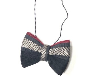 MeToo Necklace - NBowBlck6 - Bow Tie Necklace Upholstery Fabric in black, silver and red. Unique.