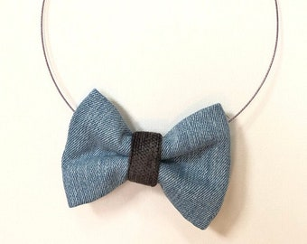 MeToo Necklace - NBowDnm9 - Bow Tie Necklace in denim jeans fabric with a grey accent. Unique.