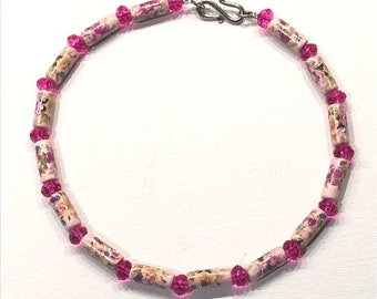 Ballerina Choker - Vintage ceramic tubes in pink and hot pink glass faceted bead rondelles