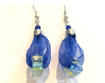 Antique silver, blue ribbon and resin beads earrings.