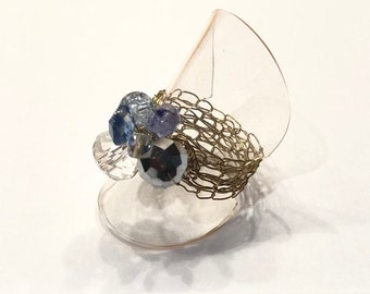 KnittedBling Ring - Recycled golden wire with blue, silver and transparent beads. Cocktail ring.
