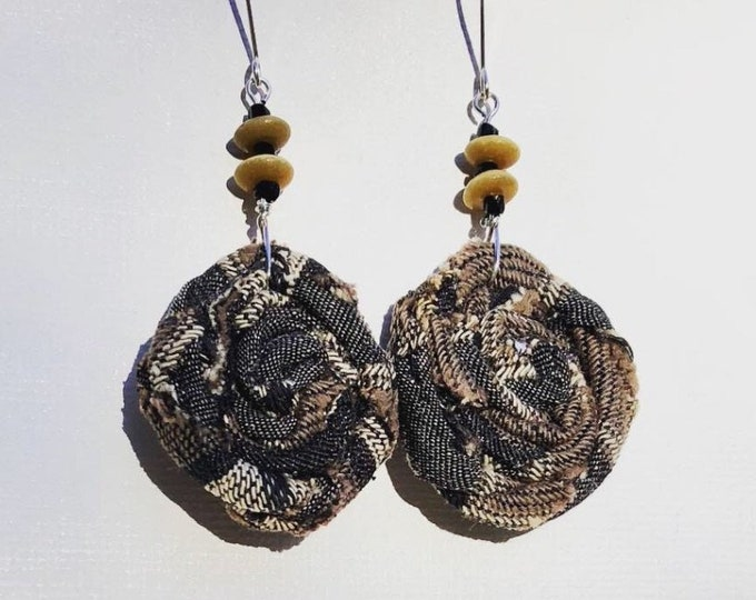 Unique fabric and beads drop down earrings. Fabric flower dangling earrings.