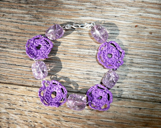 Nobility - Unique bracelet made out of crochet flowers made by recycling a plastic shopping bag with cracked glass beads in matching color.