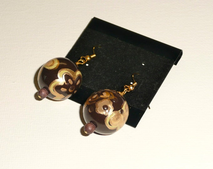 Rococo. Hand painted wood bead earrings in brown and gold tones.