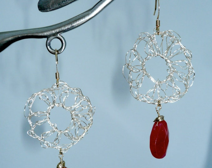 Cabernet - Signature crochet wire earrings in gold tone and a red garnet briolette.