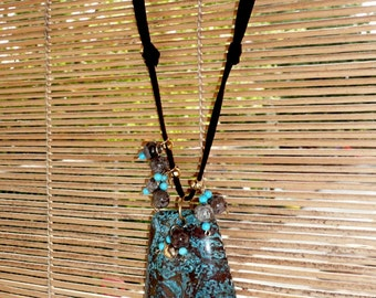 Cacao - Beautiful calsilica pendant in dark brown and turquoise tones