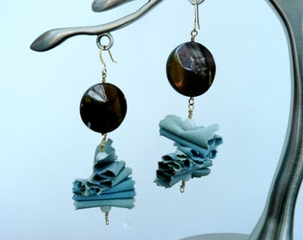 Driftwood. brown/blue - Unique dangling earrings with fabric and mother of pearl coin beads