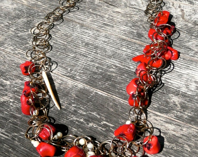 Aros - Statement Red and Gold Long Necklace.