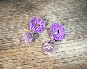 Nobility - Unique flower shaped earrings made by recycling a plastic shopping bag with a cracked glass bead in matching color.