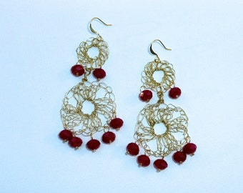 Sevilla - Crochet wire chandelier earrings in gold tone and red faceted crystals.