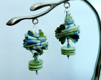 Ragged BlueGreen - Unique dangling earrings with fabric and wooden discs.