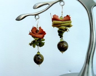 Ragged GreenOrange - Unique dangling earrings with fabric and ceramic beads