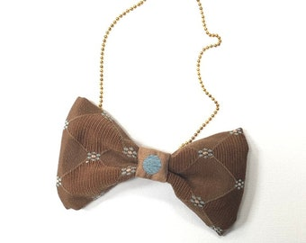 MeToo Necklace - NBowBrwn7 - Bow Tie Necklace Upholstery Fabric in brown. Unique.