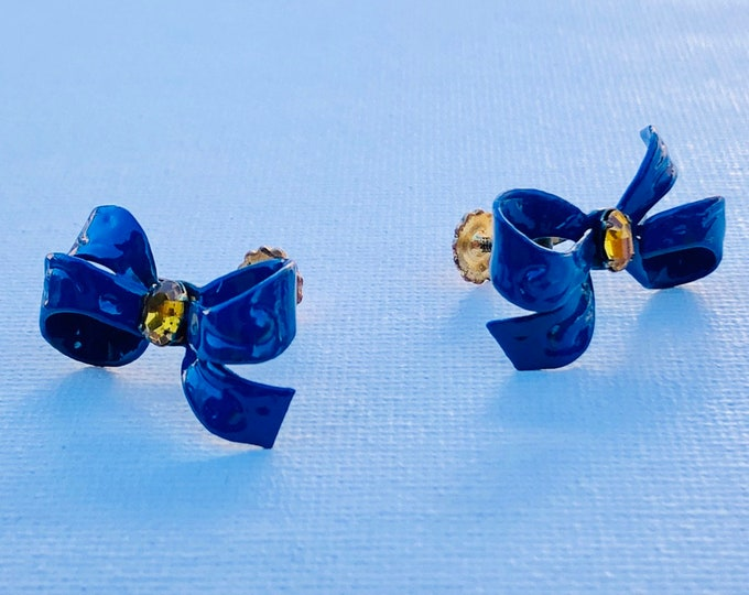 Vintage Blue Bow Metal Earrings with yellow crystal bead