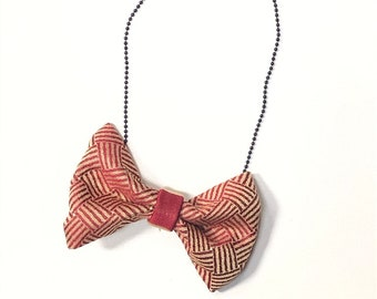 MeToo Necklace - NBowRd13 - Bow Tie Necklace Upholstery Fabric in red and gold. Unique.