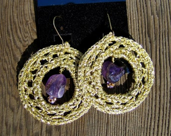 EDonut - Metallic gold thread crochet hoops featuring an Amethyst nugget bead and a Swarovsky bead