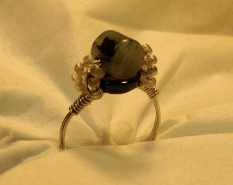 Hierba Ring.  Delicate jade ring.