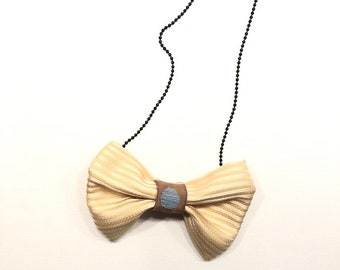 MeToo Necklace - NBowBrwn18 - Bow Tie Necklace Upholstery Fabric in beige. Unique.