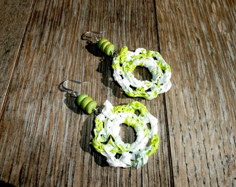 Hope - Unique flower shaped earrings made by recycling a plastic shopping bag.
