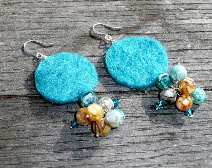 Casino Royale. Felt and mother of pearl earrings for a winnng combination.