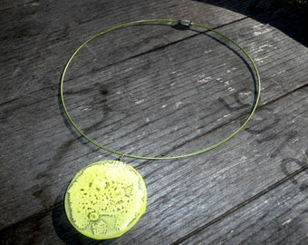 Rorschach - Glass disc pendant in bright green
