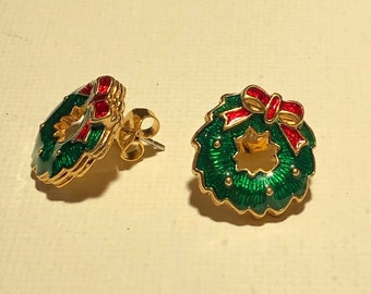 Vintage Christmas Earrings Wreath