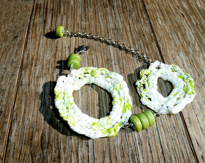 Hope - Unique bracelet made out of crochet hoops made by recycling a plastic shopping bag in green and white tones
