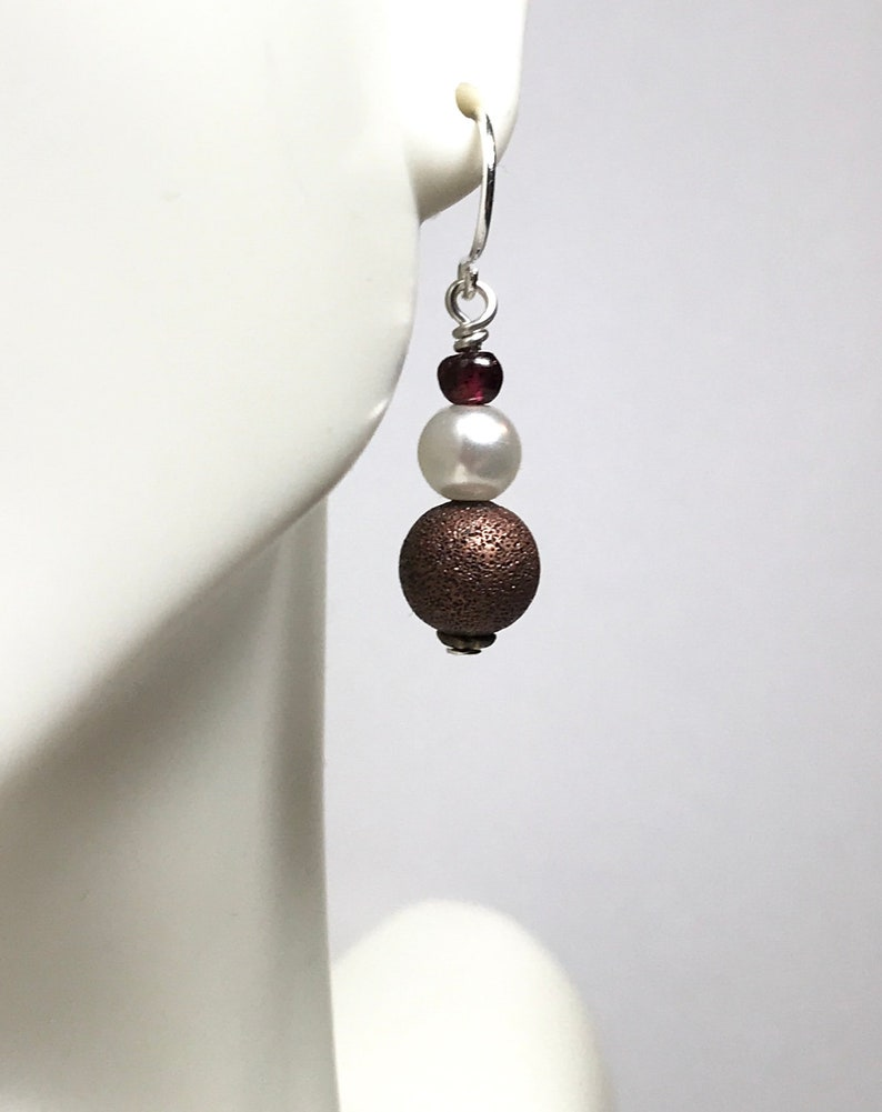 Pearl and Copper Drop Earrings with Garnets image 0