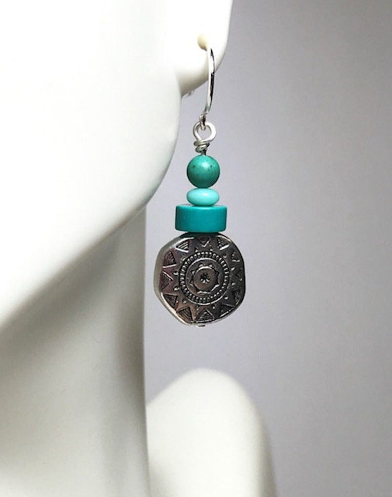 Sterling and Turquoise Beaded Earrings image 0