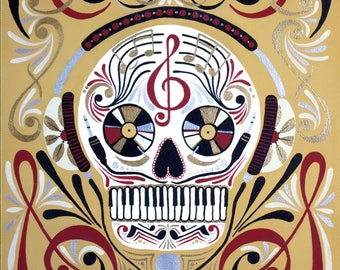 If Music Be... Day of the Dead, Skull 8x10 Matted Print