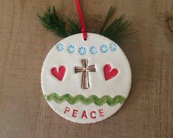 Handmade Ceramic Christmas Tree Ornament, Peace Ornament, Cross and Hearts