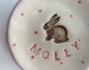 Personalized Little Dish with a Bunny Rabbit