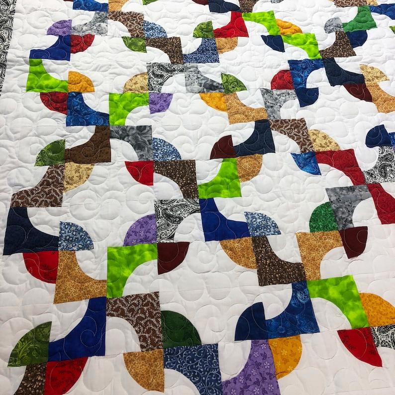 Scrap Colors Drunkards Path patchwork QUILT TOP lap or childs size