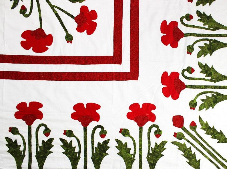 Unique Hand Applique Red Poppy Field Medallion QUILT TOP Poppy Borders