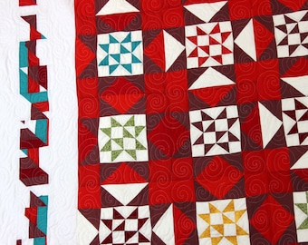 Handmade Patchwork Star variation FINISHED QUILT Great scrap quilt colors