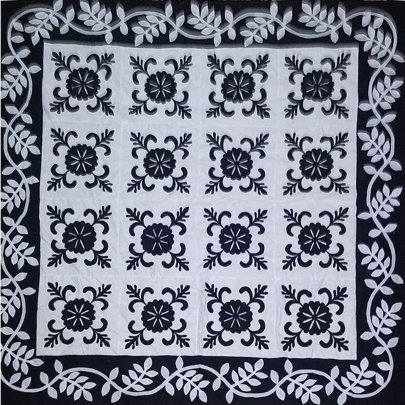 Black /& White Hand Applique Sand Dollar QUILT TOP Incredible border