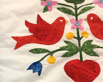 Hand Applique Love Birds in the Garden - QUILT TOP queen size, elegant colors