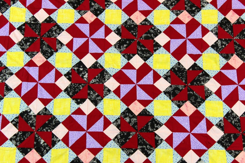 Very nice look and feel to this quilt top Patchwork Pinwheel QUILT TOP