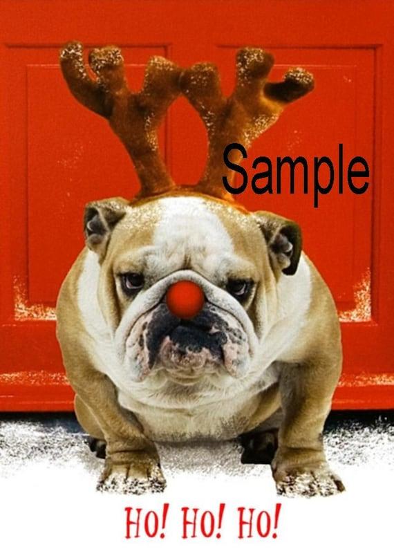 Items similar to English Bull Dog Breed Christmas Fridge ...
