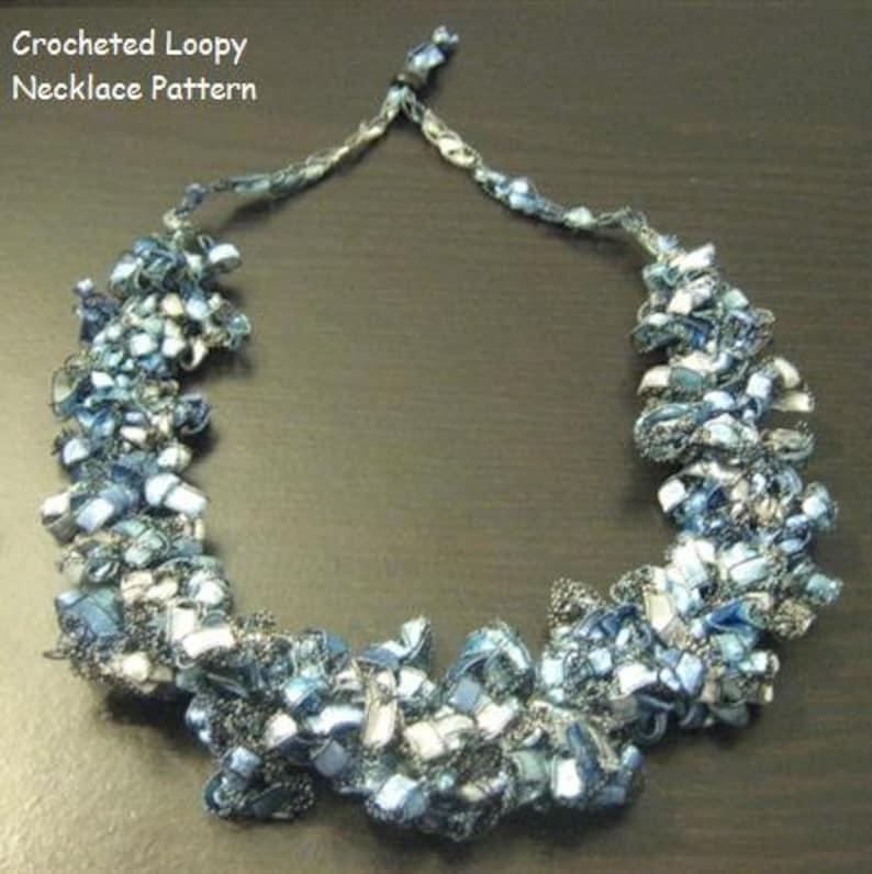 Crocheted Trellis Ladder Yarn Loopy Necklace Pattern Etsy