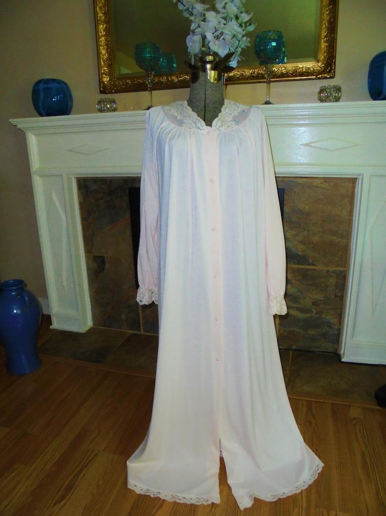 Pink Nylon Robe Shadowline Small Silky Vintage Robe