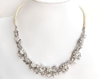 Necklace - Garden Vine Rhinestone and Pearl Bib Bridal Necklace in Silver - Ivory or White Pearls - Wedding Necklace - Flower Wedding Bride