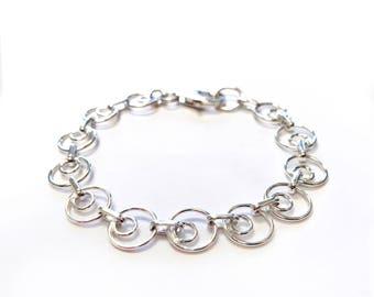 Bracelet - Sterling Silver Circle Bracelet - 10.5mm Round Circle Chain - Everyday Wear - Simple .925 Sterling Bracelet - Stacker Bracelet