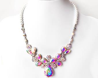 Necklace - Aurora Borealis Crystal Bib Necklace - Pearl Necklace with AB Crystals - AB Rhinestone Wedding Jewelry - Bridesmaid Necklace